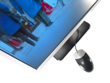 Wide Screen LCD Computer Monitor and Mouse (Isolated on white background)                                Stock Photo - 2451298