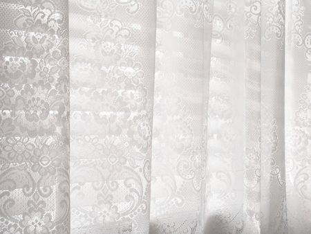 Abstract white lace blinds window pattern background Stock Photo - 2483492
