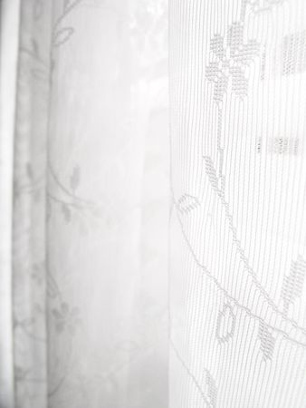 Abstract white lace blinds window pattern background                                Standard-Bild