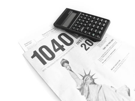 Isolated United States Tax Form and Calculator                                Standard-Bild
