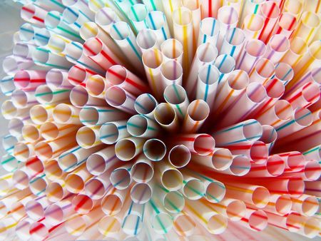 Close-up of straws pointing outwards, colorful pattern background Stock Photo - 2709843