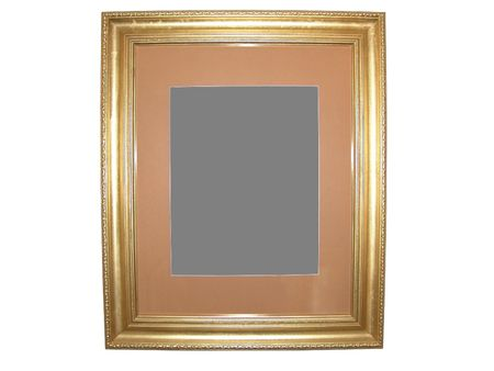 matted: Isolated Blank Gold Picture Frame Cutout Background Close-up