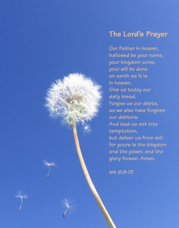 The Lord's Prayer - Dandelion seeds floating on blue sky (English) Stock Photo - 3094808