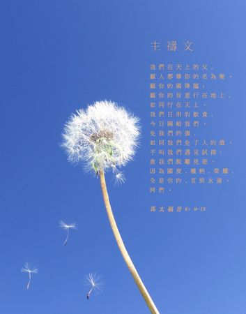 kingdom of heaven: The Lord's Prayer - Dandelion seeds floating on blue sky (Chinese)