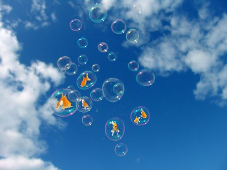 Eco-friendly Energy Environmental Protection Soap Bubbles Sky Goldfishes Playing