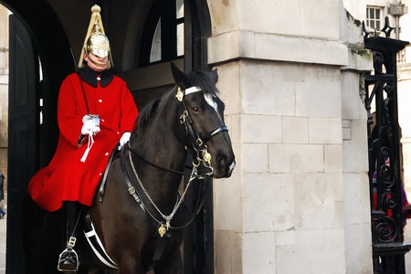 british army: London, United Kingdom - January 05, 2010: The Horse Guard. The Life Guards is the senior regiment of the British Army and part of the Household Cavalry.