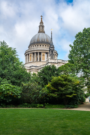st pauls: St Pauls Cathedral in London from Festival gardens Stock Photo