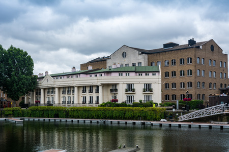 commercial docks: St Katharine docks in London. St Katharine Docks were one of the commercial docks serving London, on the north side of the river Thames. Editorial