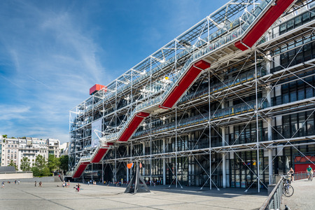Paris, France - August 13, 2016: The Pompidou Centre in Paris is a complex building in the Beaubourg area of the 4th arrondissement. It houses the Public Information Library and the museum of Modern art.