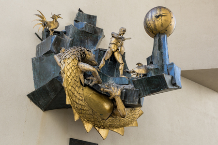 citytrip: Paris, France - August 13, 2016: Le Defenseur du Temps (The Defender of Time) is a large mechanical work of art in the form of a clock created by the French artist Jacques Monestier