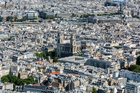 citytrip: Skyline of Paris from the top of the Montparnasse tower. We can see the Saint-Sulpice church and the Pompidou center.
