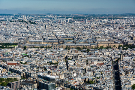 citytrip: Skyline of Paris from the top of the Montparnasse tower. We can see the Louvre museum, the Tuileries garden, the Madeleine church, the basilica of the Secred Heart, ... Editorial