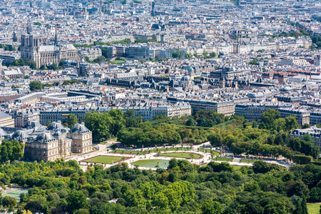 citytrip: Skyline of Paris from the top of the Montparnasse tower. We can see the Cathedral of Notre-Dame de Paris, the Luxembourg garden, the Luxembourg Palace, ...