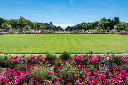 Paris, France - August 14, 2016: The Luxembourg garden covers 23 hectares and is known for the Luxembourg palace.