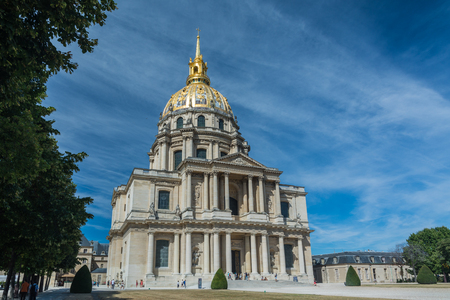 Paris, France - August 14, 2016:  The Dome des Invalides, a large church with the burial site for some of Frances war heroes, most notably Napoleon Bonaparte. Editorial
