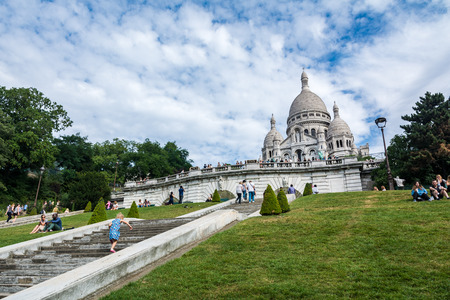 sacre coeur: Paris, France - August 14, 2016: The Basilica of the Sacred Heart of Paris, commonly known as Sacre-Coeur Basilica, is a Roman Catholic church and minor basilica, dedicated to the Sacred Heart of Jesus, in Paris