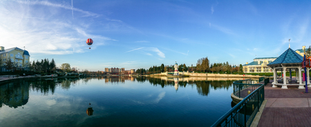 Marne-la-Vallee, France - March 10, 2017 : The Lake of Disneyland Paris. This zone encompasses many resort hotels.