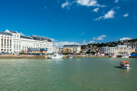 Deauville, France - September 8, 2016: With its harbour, film festival, marinas, Grand Casino and sumptuous hotels, Deauville is regarded as the queen of the Norman beaches and one of the most prestigious seaside resorts of France.