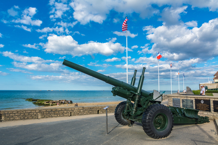 Arromanches, France - September 9, 2016: Arromanches is remembered as a historic place of the Normandy landings and in particular as the place where an artificial port was installed. This artificial port allowed the disembarkation of 9,000 tons of materia Editorial