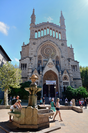Soller, Majorca, Spain - September 6, 2013: Soller is a town near the north west coast of Majorca. The church of Sant Bartomeu is one of the main landmark of the city. Editorial