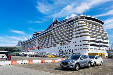 Kiel, Germany - September 2, 2017: The cruise ship MSC Fantasia at the harbor of Kiel.