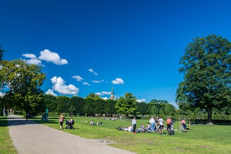 Copenhagen, Denmark - september 3, 2017: Rosenborg Castle Gardens (Kongens Have) is the oldest and most visited park in Copenhagen. Established in the early 17th century as the private gardens of King Christian IVs Rosenborg Castle, the park also contain