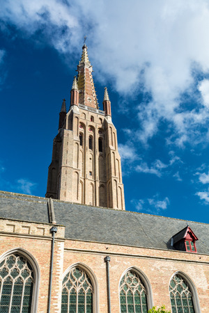 The Church of Our Lady in Bruges dates mainly from the 13th, 14th and 15th centuries. Its tower, at 115 metres in height, remains the tallest structure in the city and the second tallest brickwork tower in the world