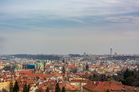 Prague is the capital and largest city in the Czech Republic. This is a view from the top of the city Stock Photo