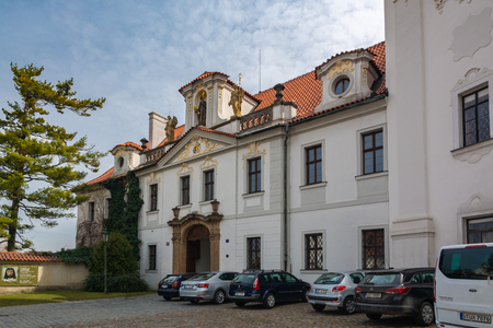 Prague, Cechz Republic - April 4, 2018 : At its core, this abbey, situated in the middle of the Premonstratensian monastery at Strahov, is a Romanesque basilica with a Gothic transept and two Renaissance towers