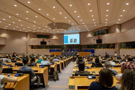 Brussels, Belgium - May 5, 2018 : People debating inside the European Parliament  in Brussels. The debate was about the totalitarianism.