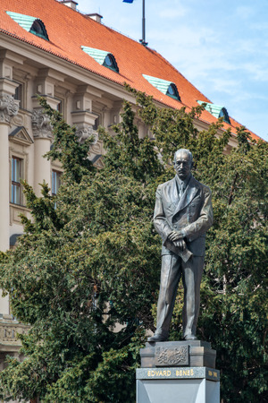 Prague, Czech Republic - April 4, 2018 : The statue of Edvard Benes in front of the Czernin Palace. He was a Czech politician who was twice President of Czechoslovakia.