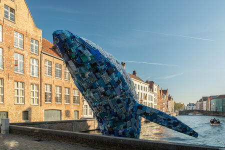 Bruges, Belgium - October 6, 2018: Skyscraper by Studiokca (the Bruges Whale) made of  5 tons of plastic waste. It is located in Bruges, Belgium.