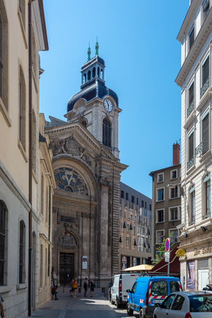 Lyon, France - July 18, 2018: The new Hotel-Dieu converted after 3 years of works in a commercial and business center. The hospital was erected on the west bank of Rhone River.