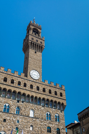 The Palazzo Vecchio (Old Palace) is the town hall of Florence. It overlooks the Piazza della Signoria, which holds a copy of Michelangelo s David statue, and the gallery of statues in the adjacent Loggia dei Lanzi.