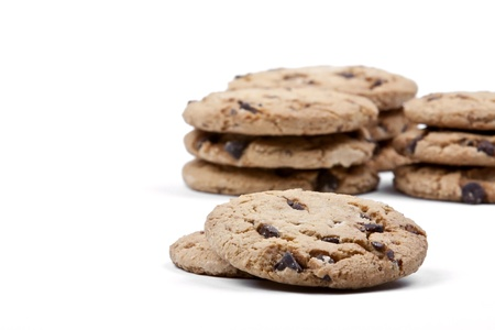 semisweet: Chocolate chip cookies on a white background Stock Photo