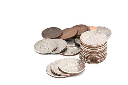 monete antiche: Monete e spiccioli su uno sfondo bianco