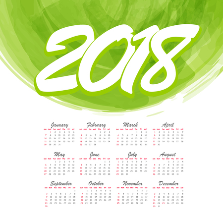 2018 watercolor abstract monthly calendar background. Office planner organizer schedule. Texture brush colorful frame backdrop splash design. Vector colored illustration. Green grunge color. Stock Photo