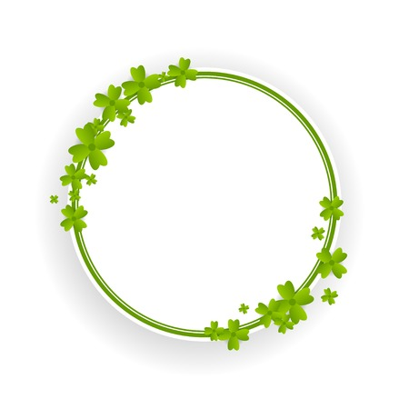 The wreath of clover, decoration for St. Patricks day isolated on white Illustration