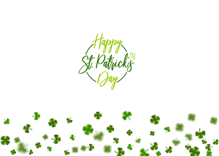 Green clover random size falling shimmer transparent background. Irish sign and symbol happy luck. Greeting text logo. Isolated white vector illustration. Greeting happy St. Patricks day holiday. Illustration