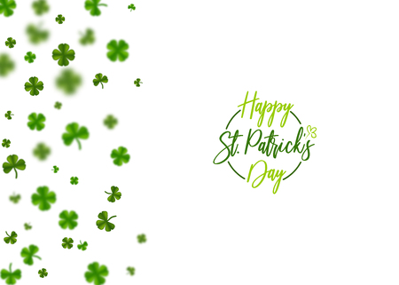 Greeting text logo. Isolated white vector illustration. Greeting happy St. Patricks day holiday. Green clover random size falling shimmer transparent background. Irish sign and symbol happy luck. Stok Fotoğraf - 93359658