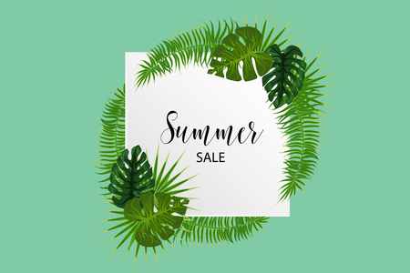Tropical backgroung palm leaf with summer sale