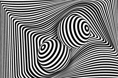 Black white 3d line distortion illusion design. Vector monochrome background. Geometric stripped pattern illustration art. Modern swirl curve tunnel cover. Ball circle shape. Vectores
