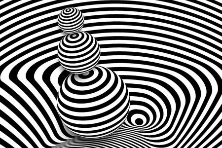 Diseño de ilusión de distorsión de línea 3d blanco negro. Vector de fondo monocromo. Arte de ilustración de patrón pelado geométrico. Cubierta de túnel de curva de remolino moderno. Forma de círculo de bola.
