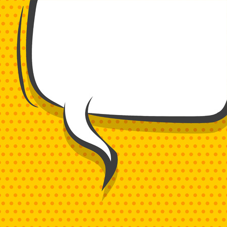 White dialog empty cloud for comic text. Colored announced speech balloon comics book sketch explosion. Retro hand drawn blank template funny speech bubbles halftone dot background style pop art.