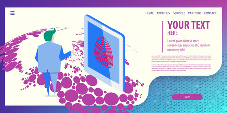 World map connect. User man use fingerprint to login in tablet. Data connection isometric technology. Digital vector illustration. Site page template.