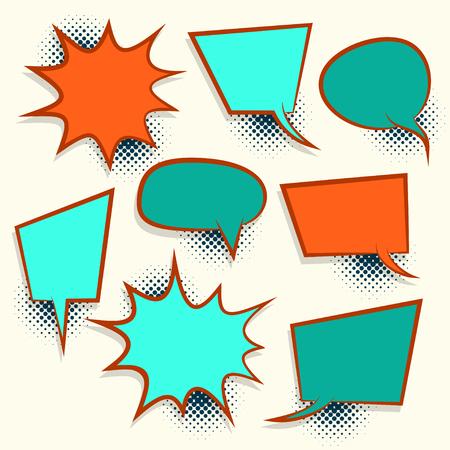 Comic set retro colored empty speech bubble pop art style vector. Cartoon sound box for phrase text. Expression balloon sounds illustration. Advertice template. Illustration