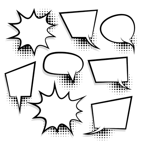 Announces sketch idea conversation sketch explosion. Comic text speech bubble halftone dot background. Big set picture blank template pop art style. Comics book dialog empty cloud, space cartoon box. Çizim