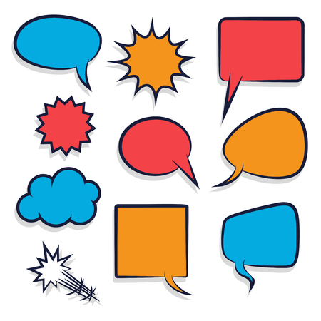 Comic set colored empty speech bubble pop art style vector. Cartoon sound box for phrase text. Expression balloon sounds illustration. Advertice template.