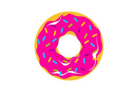Glazed doughnut pattern. Colored chocolate vanilla donut. Food bakery sweet dessert pop art style. Vector colored illustration.