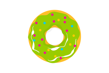 Glazed doughnut pattern. Colored chocolate vanilla donut. Food bakery sweet dessert pop art style. Vector colored illustration.